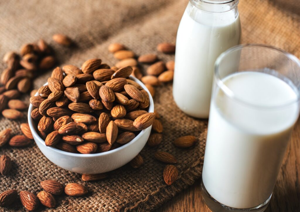 Soaked almonds In Milk